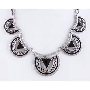 Fashion Jewelry Jewelry - Aztec Tribal Statement Necklace Set Black Silver